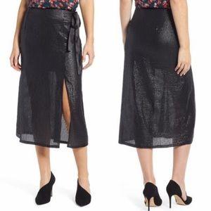 Something Navy Black Sequin Slit Midi Skirt
